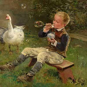 Adolf Lins . Junge mit Gänsen . 1890 . Öl /Holz . ca. 27 x 35,5 cm
