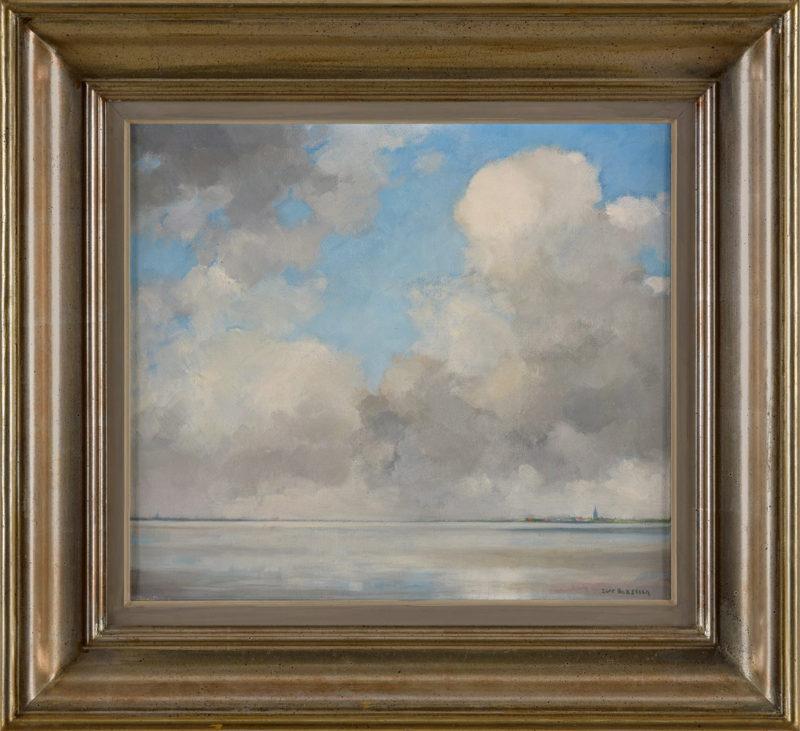 Dirk Baksteen . Ruhige See mit Stadtsilhouette . Öl /Leinwand . 40 x 45 cm