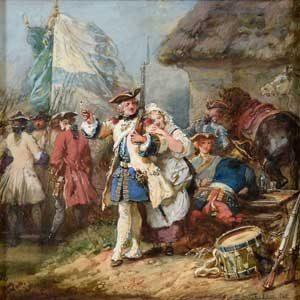 Eugène Louis Lami . Tiens voila ma Pipe. Garde mon Briquet. . 1862 . Gouache . 22 x 22 cm