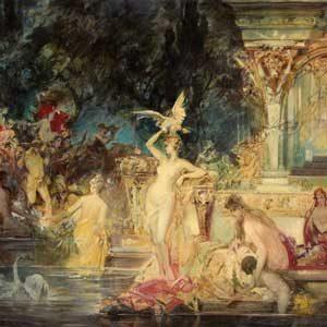 Friedrich Ernst Wolfrom . Festivitäten der Antike . 1898 . Öl /Leinwand . 66 x 90 cm