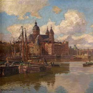 Friedrich Kallmorgen . Ansicht von Amsterdam mit Blick auf die Oude Kerk . 1896 . Öl /Leinwand . 37 x 48 cm