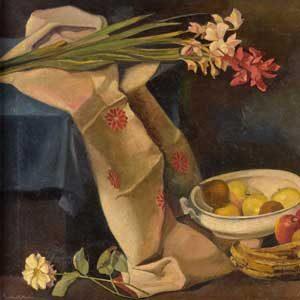 Gustav Hilbert . Früchte- /Blumenstillleben . Öl /Leinwand . 73 x 100 cm