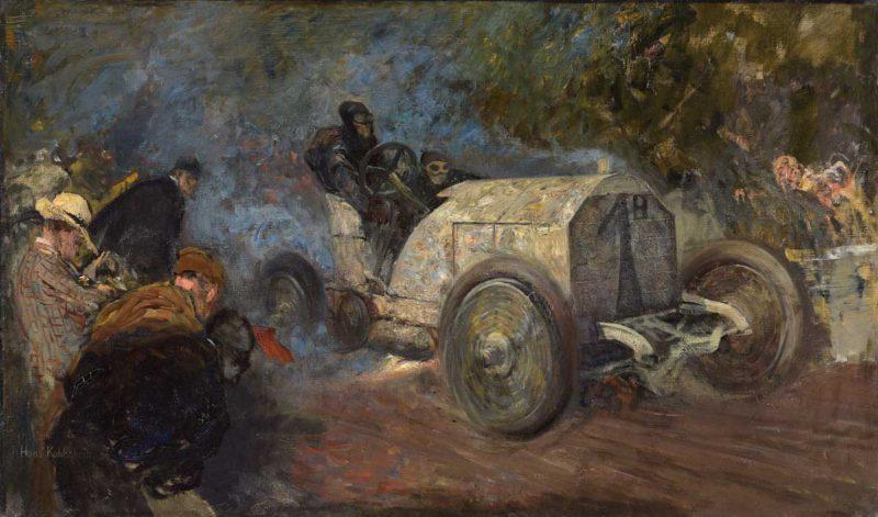 Hans Kohlschein . Der Gordon-Bennett-Cup durch den Taunus . 1904 . Öl /Leinwand . 56 x 96 cm