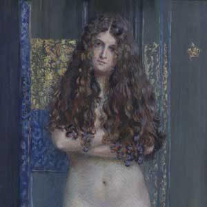 Josef Engelhart . Weiblicher Akt . 1919 . Aquarell /Papier auf Karton . 87,8 x 39,3 cm