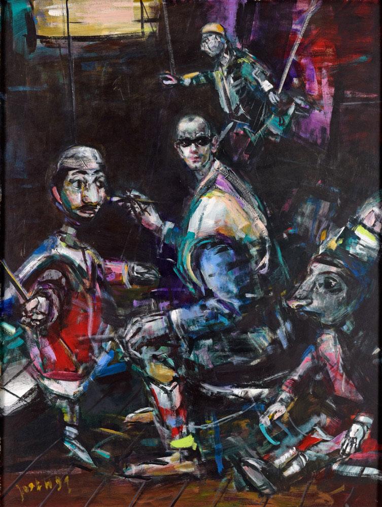 Jost Heyder . Selbst mit Marionetten . 1991 . Öl /Platte . 138 x 104 cm