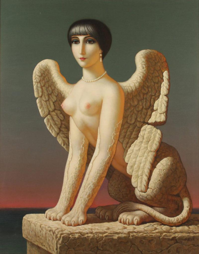 Ludwig Schwarzer . Metamorphose . 1975 . Öl /Platte . 118 x 94 cm