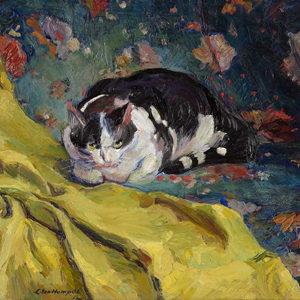 Ludwig ten Hompel . Katze . 1912 . Öl /Leinwand . 59 x 72 cm