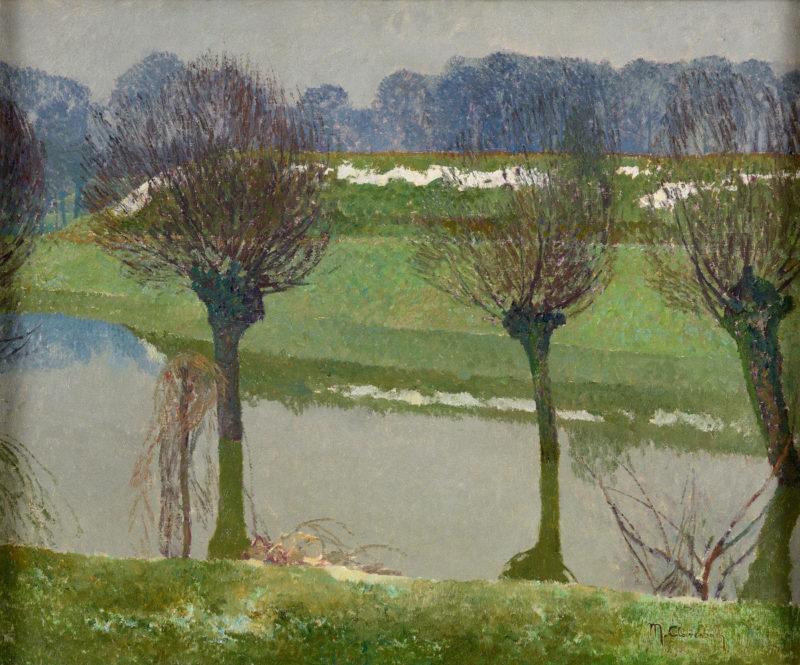 Max Clarenbach . Bei Wittlaer . Öl /Leinwand . 50 x 60 cm