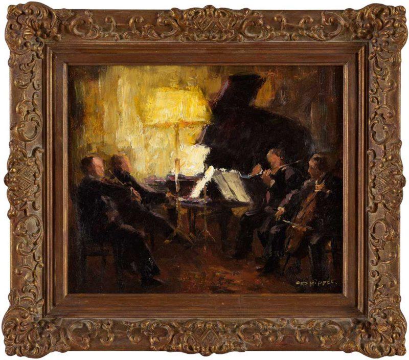 Otto Pippel . Kammermusik . Öl /Holz . 25,5 x 30,5 cm