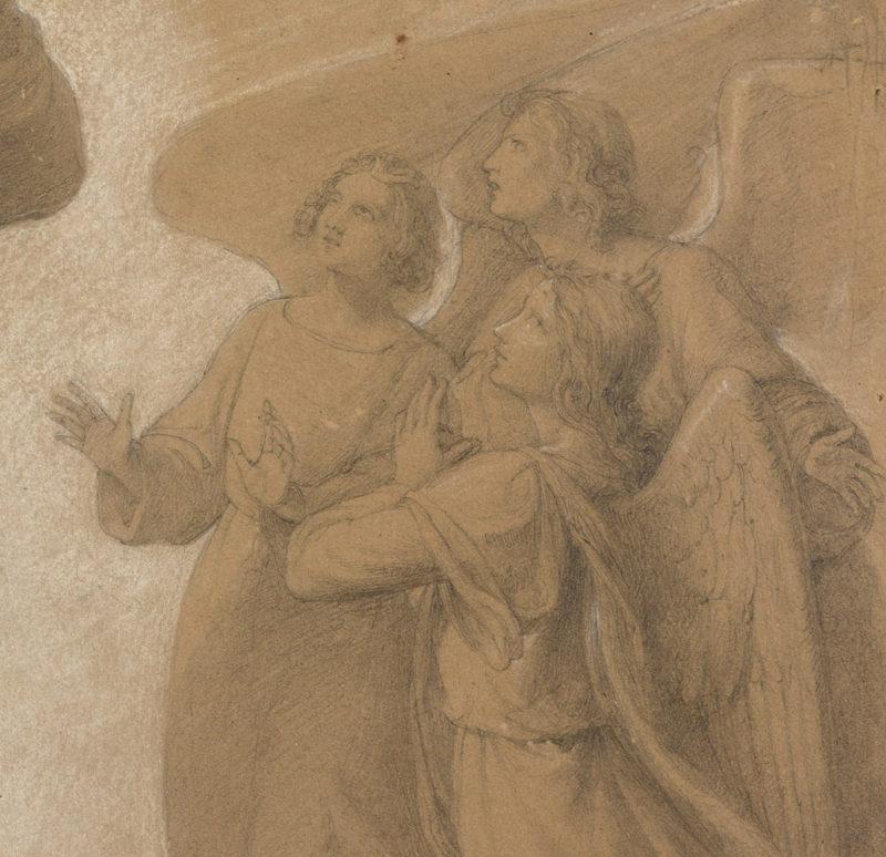 Wilhelm von Schadow . Die Versuchung Christi . Bleistift und Aquarell . 60 x 52 cm