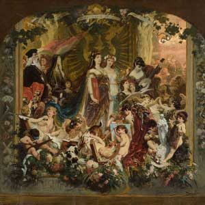 Wilhelm Simmler . Malkasten-Vorhang . Öl /Leinwand . 77 x 84 cm