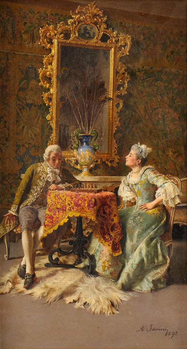 Alfonso Savini . Schach dem König . 1893 . Öl /Leinwand . 25 x 19,5 cm