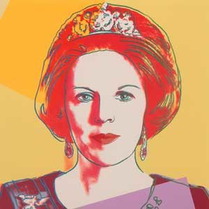 Andy Warhol . Queen Beatrix of the Netherlands . Siebdruck mit Diamantstaub auf Lenox Museum Board . 100 x 80 cm