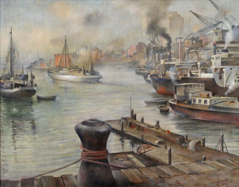 Bernhard Templin . Düsseldorfer Hafenansicht . 1922 . Öl /Leinwand 70 x 91 cm