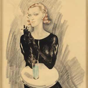 Boris Chaliapin(e) . Die geheimnisvolle Dame . 1934 . Mischtechnik (Bleistift, Graphit, Tusche und Aquarell) . 40,5 x 29 cm