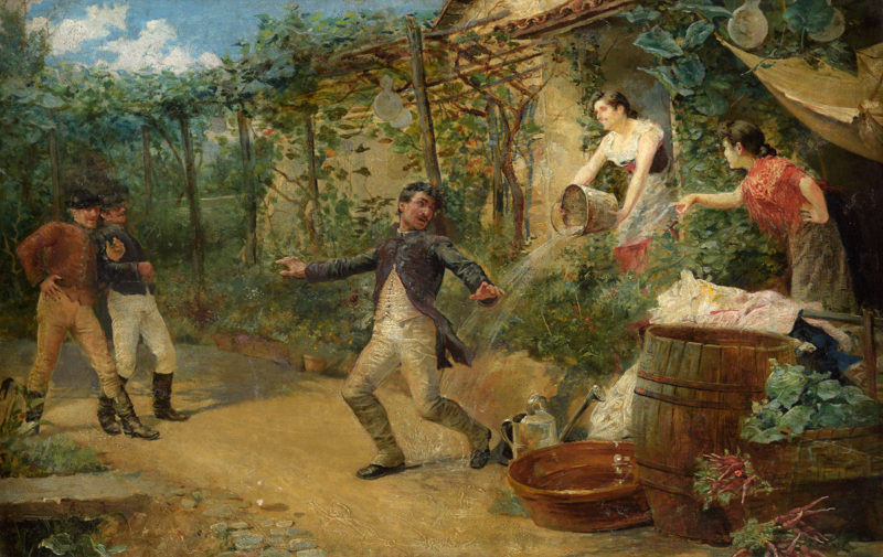 Caesar Alvarez Dumont . Eine unerwartete Erfrischung . 1871 . Öl /Leinwand . 33 x 50 cm