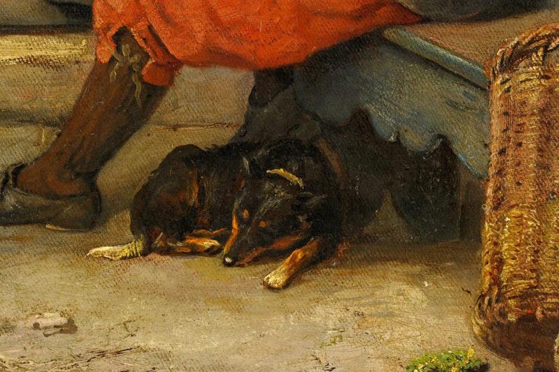 Carl Emil Mücke und Ludwig Benno Fay . Plauderei vor dem Bauernhof . Öl /Leinwand . 72 x 56 cm