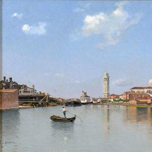 Edmond Yarz . Blick auf Santa Maria Formosa/Venedig . Öl /Leinwand . 56 x 92 cm