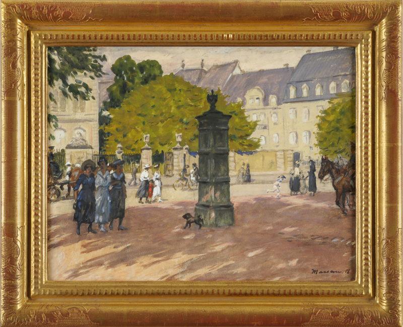 Edmund Massau . Am Schloss Jägerhof . 1918 . Gouache auf Papier . 31 x 41 cm