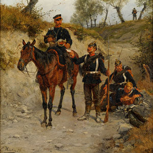 Emil Hünten . Feldpost . Öl /Leinwand . 79 x 64 cm