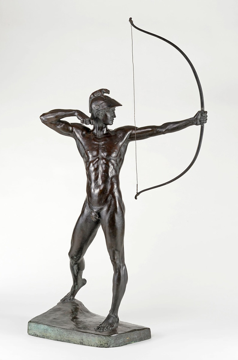Ernst Moritz Geyger . Bogenschütze . um 1900 . Bronze . Höhe 109 cm