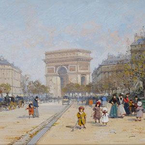 Eugene Galien-Laloue . Arc de Triomphe . Gouache auf Papier . 19 x 31 cm