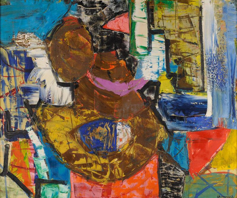 Friedrich Schiemann . Abstrakte Komposition . 1963 . Öl /Leinwand . 100 x 120 cm