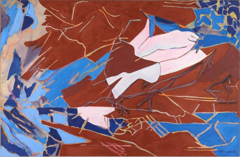 Friedrich Schiemann . Abstrakte Komposition . Öl /Leinwand . 150 x 99 cm