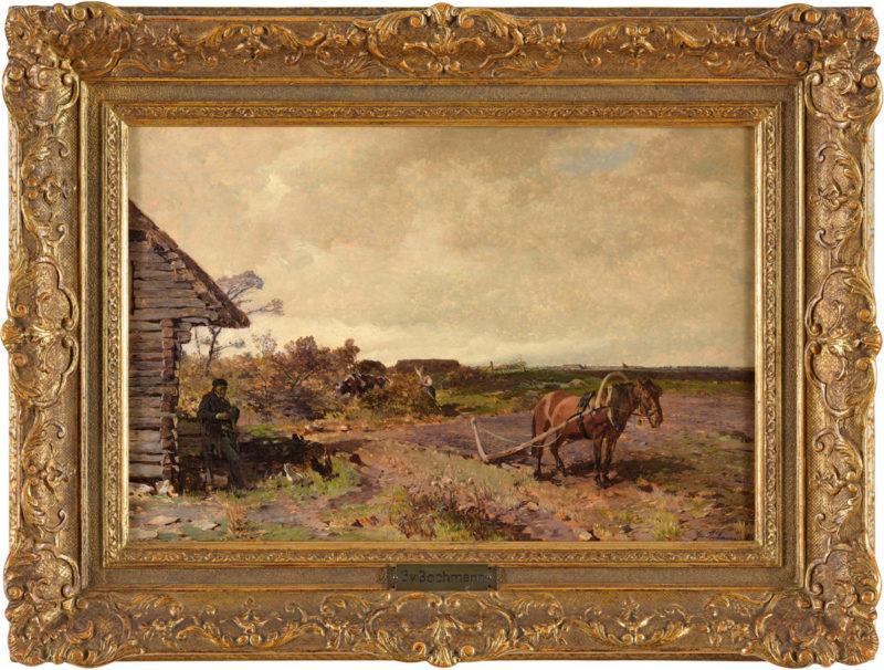 Gregor von Bochmann . Estnisches Gehöft . Öl /Holz . 30 x 45 cm