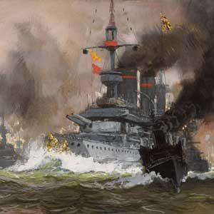 Hans Bohrdt . Linienschiff Barbarossa, gefolgt von S.M.L. Kaiser Wilhelm II., Linienchiff Branschweig . 35 x 74 cm