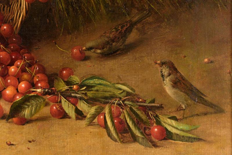Hans Heinrich Brandes . Die Kirschdiebe . Öl /Leinwand /Malkasten . 62 x 82 cm