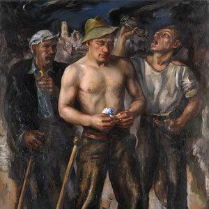 Heinrich Carl Macleane . Drei Arbeiter (im Hintergrund Blick auf das zerstörte Rotterdam) . 1941 . Öl /Leinwand . 151 x 110 cm