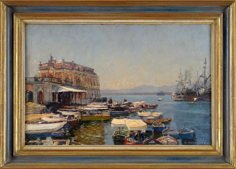Heinrich Hermanns . Bucht bei Neapel mit Palast der Königin Johanna . Öl /Leinwand . 31 x 47 cm