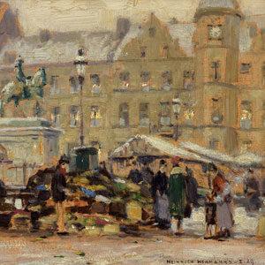 Heinrich Hermanns . Markttag am Jan Wellem im Winter . Öl /Malkarton . 25 x 35 cm
