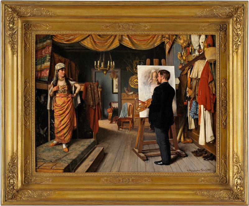 Heinrich Modersohn . Der Maler und sein orientalisches Modell . Öl /Leinwand . 50 x 66 cm