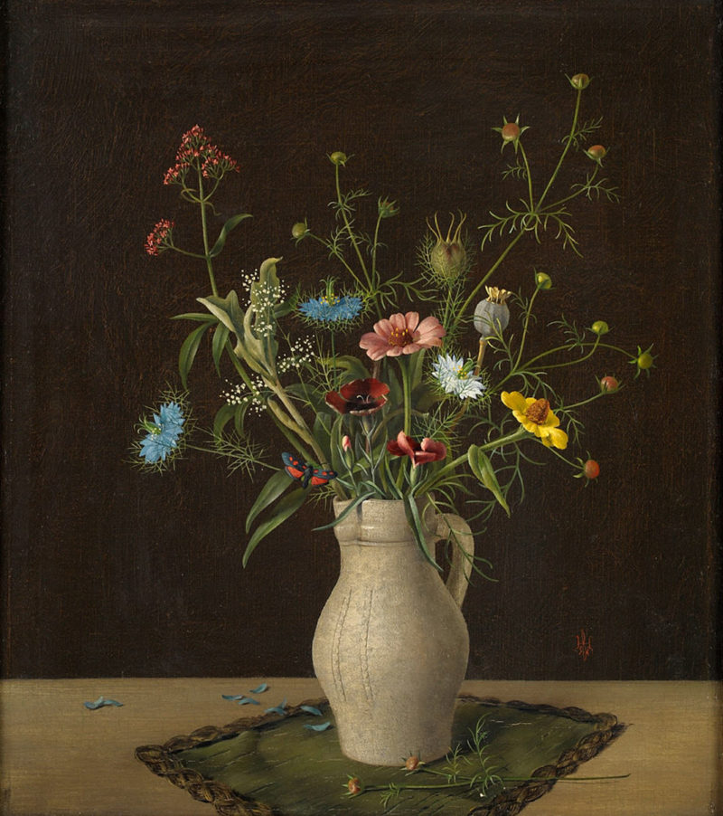Herbert Böttger . Blumen im Tonkrug . Öl /Leinwand . 44,5 x 38,5 cm
