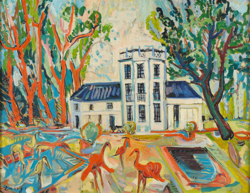 Herbert Zangs . Krefelder Zoo . Öl /Karton . 70 x 90 cm