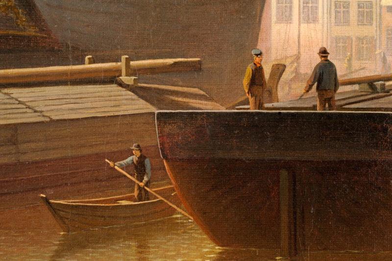 Hermann Meyerheim . Auf der Mottlau in Danzig . Öl /Leinwand . 58 x 51 cm