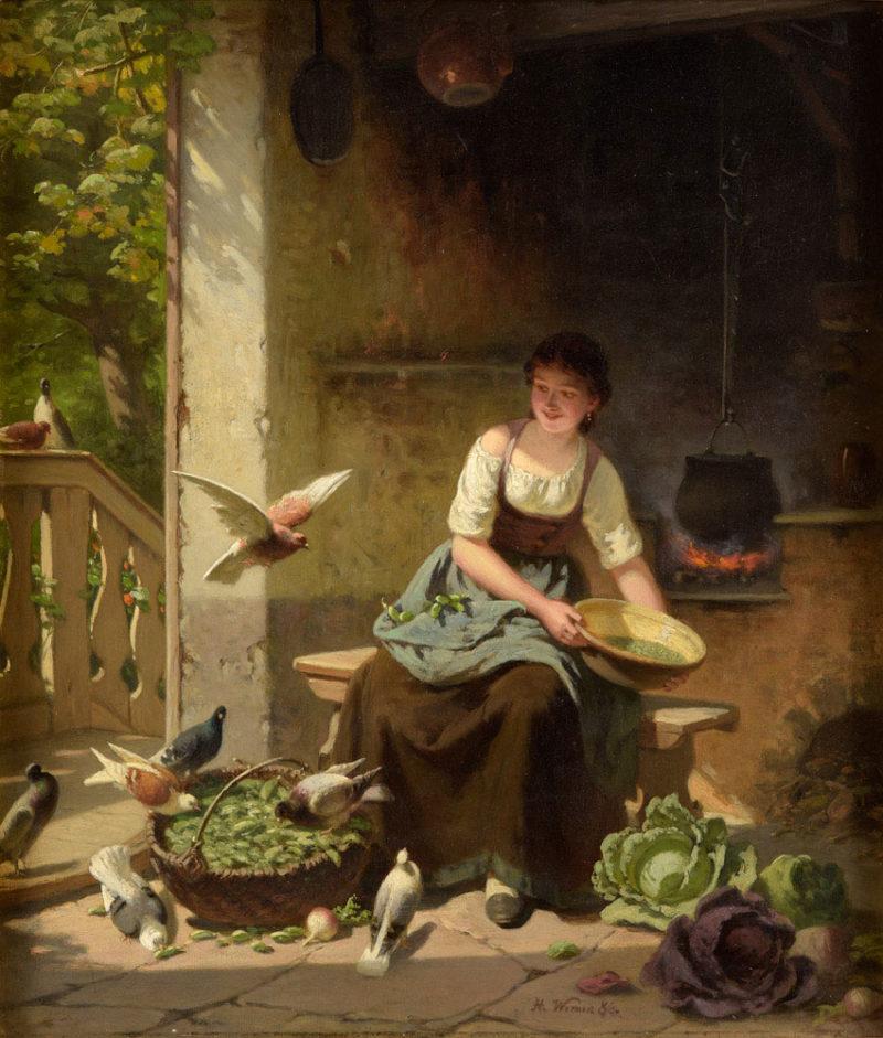Hermann Werner . Aschenputtel . 1886 . Öl /Leinwand . 38 x 33 cm