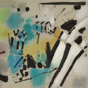 Hubert Berke . Mischtechnik auf Papier . 1957 . 48 x 62 cm