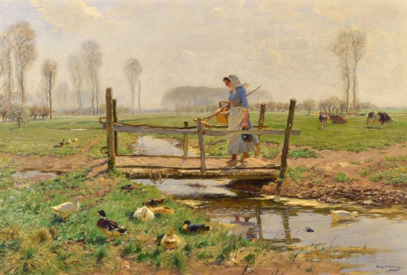 Hugo Mühlig . Herbstmorgen . Öl /Leinwand . 55 x 83 cm
