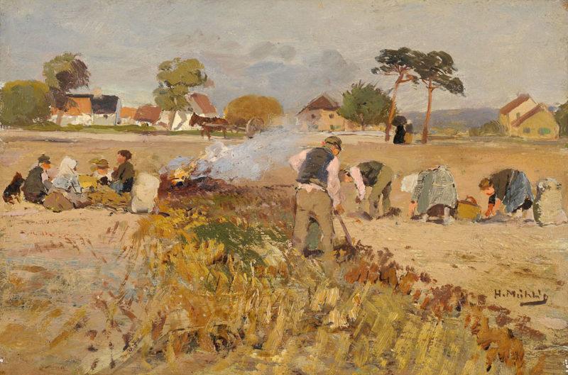 Hugo Mühlig . Kartoffelfeuer . Öl /Karton . 17 x 24 cm