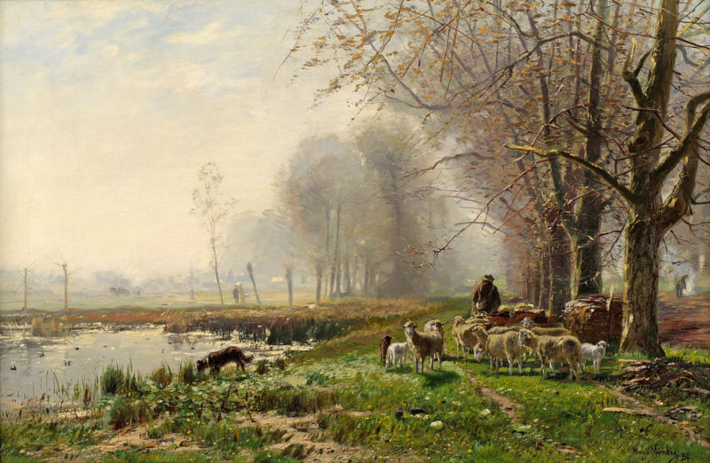 Hugo Mühlig . Schafherde am Niederrhein . Öl /Leinwand . 37 x 55 cm