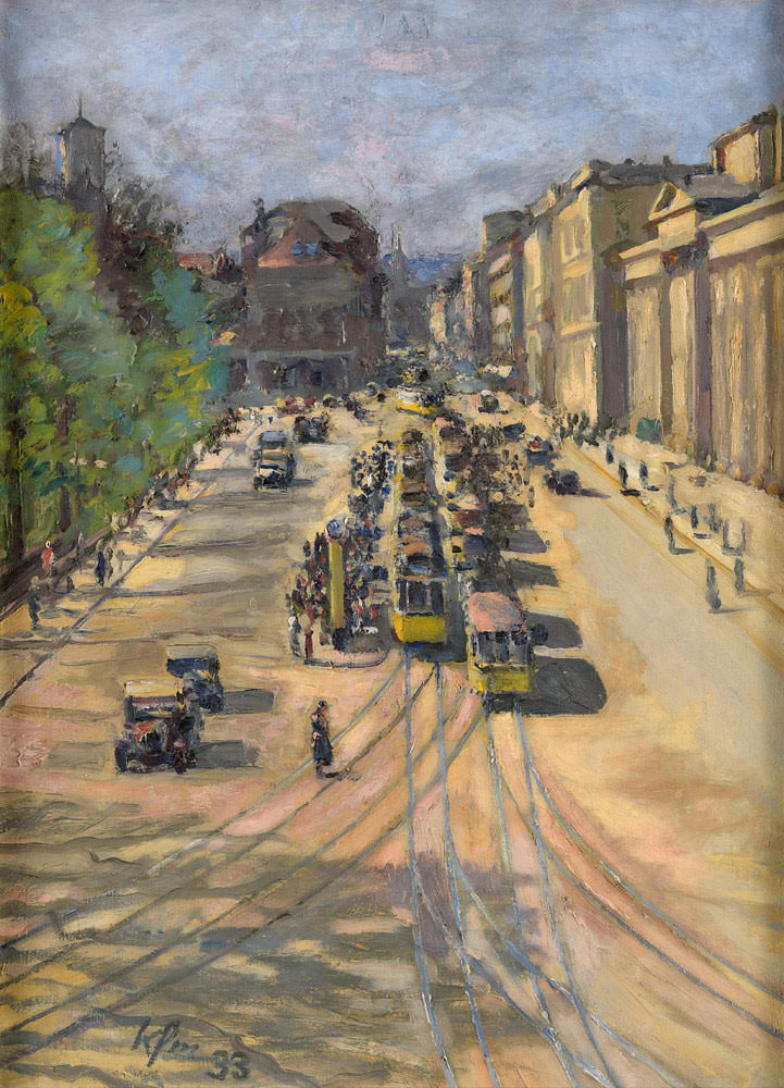 Ignaz Kaufmann . Ansicht von Stuttgart mit Blick in die Königsstrasse . Öl /Leinwand . 82 x 61 cm