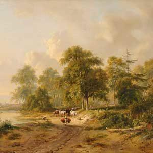 Jacobus Theodorus Abels . Sommerlandschaft . Öl /Holz . 31,5 x 41 cm