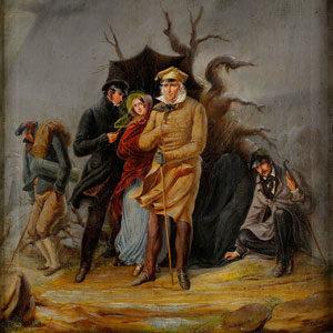 Johann Friedrich Hossfeld . Familienbildnis Kummer- Hoßfeld . Öl /Leinwand . 37,8 x 31,5 cm