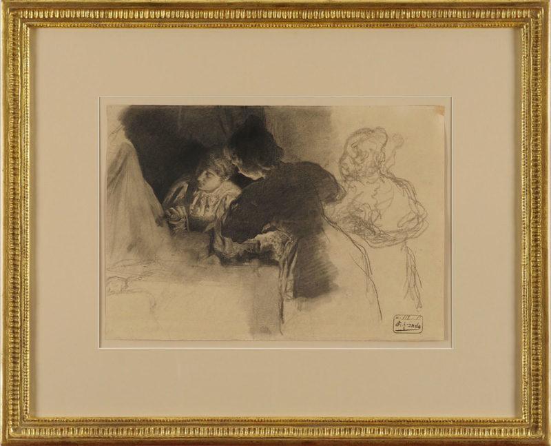 José Jiminez Aranda . An der Wiege . Kohlezeichnung . 29 x 41 cm