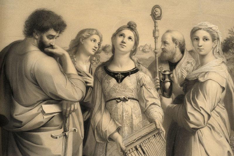 Josef Kohlschein . Die Heilige Cäcilie nach Raffael . 1880 . Bleistift auf Papier . 72 x 48 cm