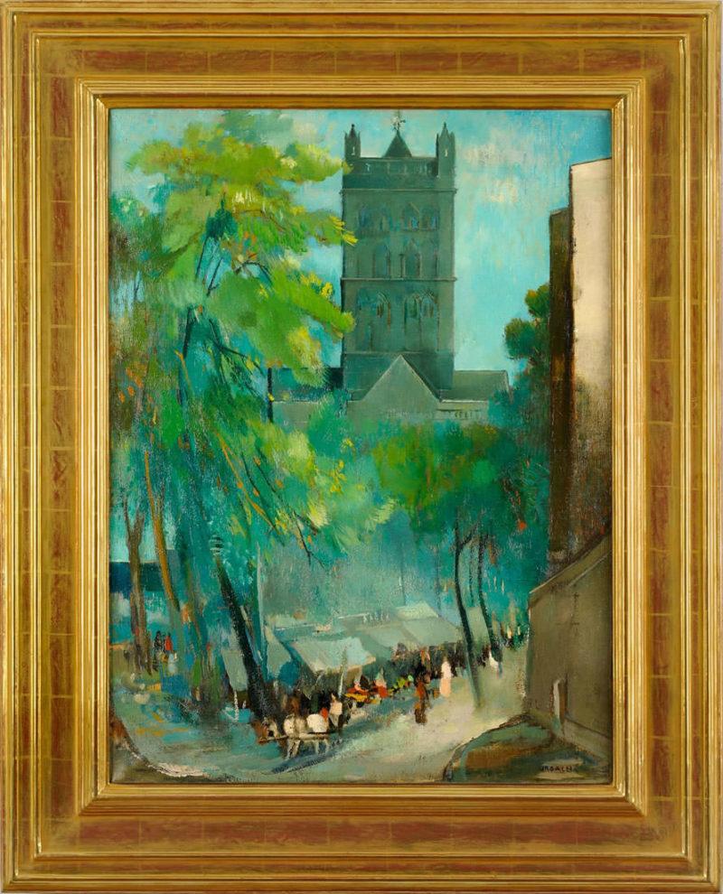 Josef Urbach . Markttag am Quirinus-Münster . um 1920 . Öl /Leinwand . ca. 84 x 63 cm