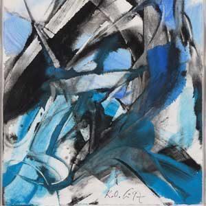 Karl Otto Götz . Blohn 1996 . Gouache auf Papier . 34,8 x 26,4 cm